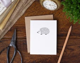 Hedgehog letterpress card - hand made greeting cards
