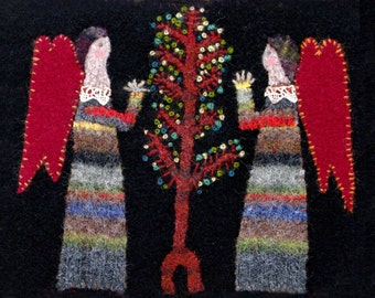 Two Angels at the Tree of Life - Folk Art Greeting Card - Recycled Sweaters - Sewn Folk Art - Red Envelope