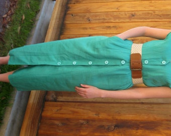 Turquoise Linen 1970s Palm Springs Dress