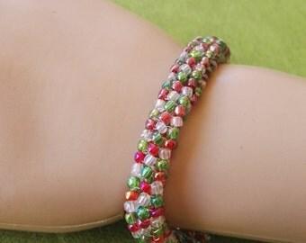 christmas bracelet Herringbone beaded bracelet toggle clasp xmas gift for her