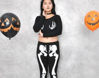 Black Halloween Skeleton Bone Leggings