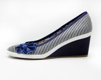 Bella Navy Stripe  Ladies/Women's Wedge Shoes