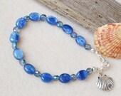 Kyanite bracelet, sea shell charm, gemstone bracelet, kyanite jewelry, blue bracelet, blue kyanite, charm bracelet, gift for her, blue gem