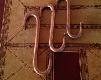 Antique Set of Three S-shaped Copper Hooks Fire Place Hooks Kitchen Hooks