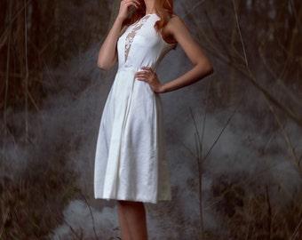 Sacha / short silk wedding dress neckline lace
