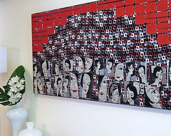 Bar Metro ~ Textile art, retro women, contemporary decor, collage, canvas, red, black, white, charcoal