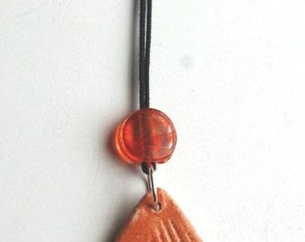 Orange triangle piece necklace