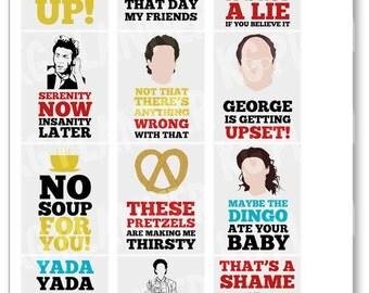 Seinfeld Quote Full Box Planner Stickers for Erin Condren Planner, Filofax, Plum Paper