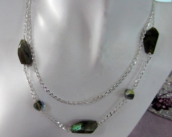 Labradorite & Swarovski crystal long necklace