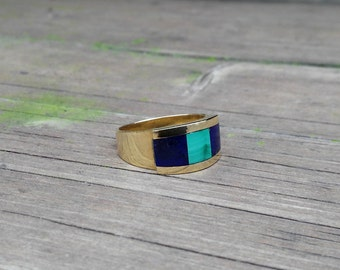 Men's elegant ring combining Malachite, Lapis Lazuli and 18K gold - gift idea - solid gold
