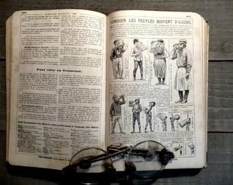 1897. Antique french  Almanac. Popular encyclopedia of practical life.  French Book. Antique French book.