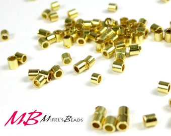 200 2x2mm Gold Plated Crimp Beads, 2x2 Crimp Tubes