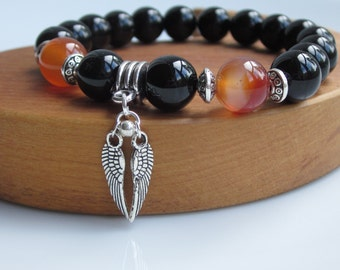 Mens gift idea, mens bracelet, mens bead bracelet, black onyx bracelet, angel wings, gemstone jewellery,