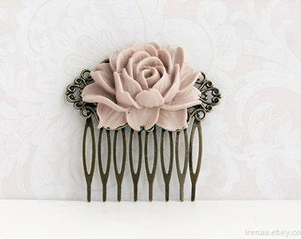 Wedding bridal latte hair comb, Light brown rose hair comb filigree, Antiqued brass filigree hair comb Taupe latte wedding floral comb