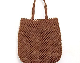 Sac à main en macramé, sac artisanal tissé main, petit cabas en macramé, sac ethnique, sac tissé en fil de pêche nylon, caramel ou chocolat