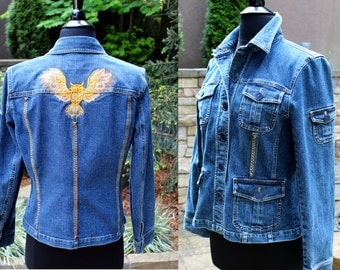 Jean Jacket (M) - The Owl - Wearable Art from our CARAUT-Altered collection of clothing