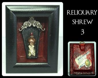 CURIO SHADOWBOX - RELIQUARY Shrew 3 -  Handmade shadowbox containing  coffin and bone reliquary.