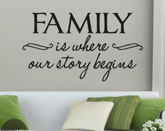 Family Is Where Our Story Begins Vinyl Wall Decal Sticker