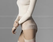 Beautiful Soft Nude or Grey Stockings with Pink Contrast Floral Design to Thigh