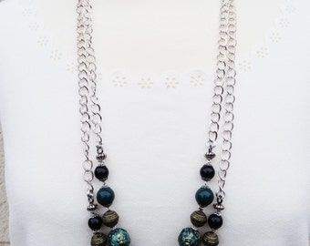 Green Necklace, Green Beaded Necklace, Double Strand Necklace, Dark Green Beaded Necklace, Double Strand Necklace, Chain and Bead Necklace