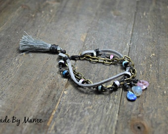 Bohemian Beaded Tassel Bracelet, Gypsy Multistrand Bracelet, Oxidized Copper, Suede, Gemstones, Boho, Silk, Gray, Bronze, Artisan, Hippie