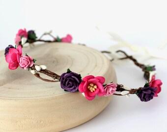Purple Pink Flower Crown, Hot Pink Rose, Pink Blossom Floral Crown, Flower Girl Flower Crown, Beach Wedding Crown