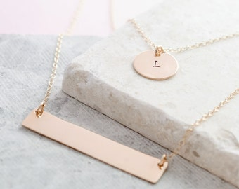 Layered Gold Filled Necklace // Personalised Layered Necklace // Custom Bar and Disc Necklaces // Gold Filled Multistrand Necklace