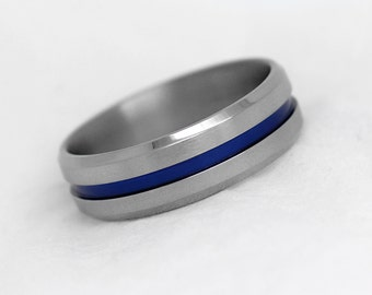 8 mm Titanium Wedding Ring, One Blue Ceramic plated line, Titanium Ring, Blue Titanium Band, Two Tone Anniversary Ring, Engagement Band