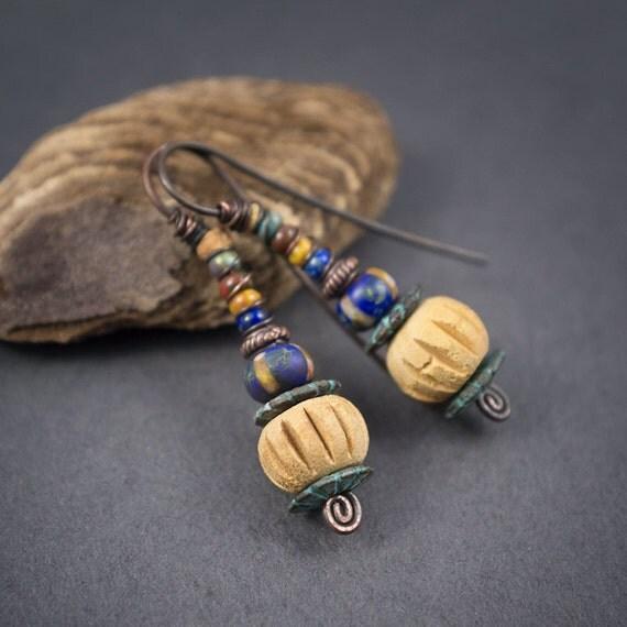 tribal earrings pottery terracotta by entre2et7 on etsy