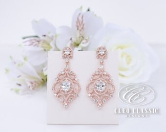 Wedding Earrings Bridal Earrings Bridesmaid Gifts Crystal Zircon Dangle Earrings Bridesmaid Earrings Rose Gold Earrings