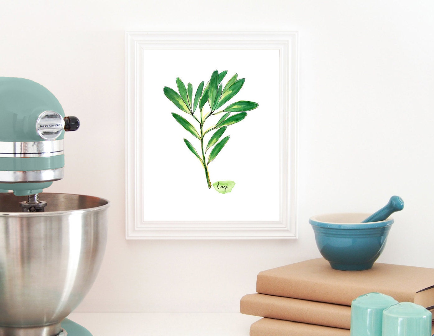 Sage Print Herb Painting Kitchen Wall Decor Cooking Art