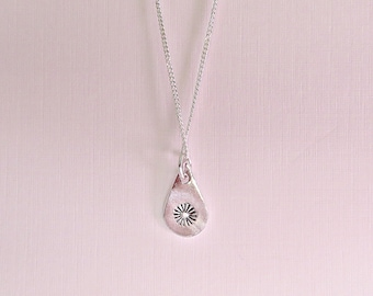 Silver daisy pendant, Fine silver pendant with daisy stamp on sterling silver chain, Silver tear drop pendant with daisy stamp, UK Seller