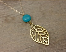 Turquoise gold pendant necklace, long necklace, pendant necklace, glass pendant necklace, dainty necklace