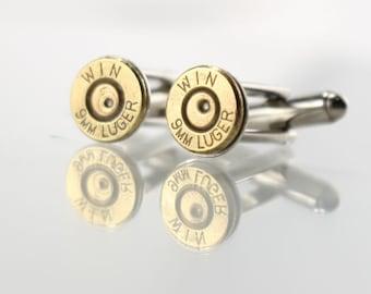 Bullet Cufflinks for Men - Valentines Gift Ideas - Gifts for Boyfriend - Gift Ideas for Men - Gifts for Police Officer - 9mm Cuff Links