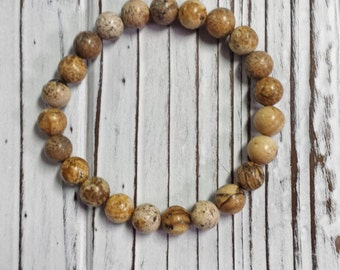 Picture Jasper Bracelet, Healing Stone, Natural Stone Bracelet, Earth Tones, Brown Stone, 8 mm Bead Size