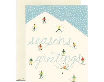 "Snowy Mountain Skiers Holiday Christmas Card - ""Season's Greetings"" - ID: HOL105"