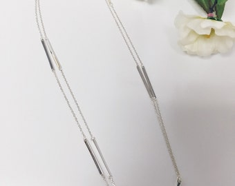 925 Sterling Silver Layer Bar Necklace Long Chain