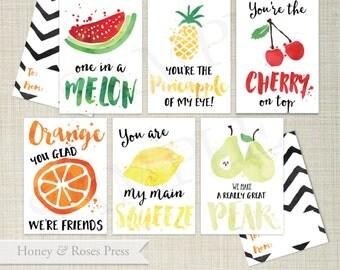 Printable Fruit Valentine's Day Cards  .  Kids Valentines Cards  .  Children's Classroom Valentines  .  Instant Download  .