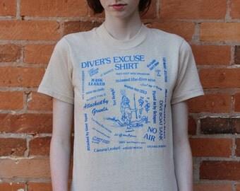 Scuba Diver's Excuse Shirt Vintage 80s T-Shirt
