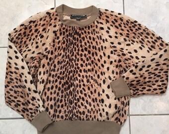 Vintage Lester Hayatt Velour Leopard Print Top, size S