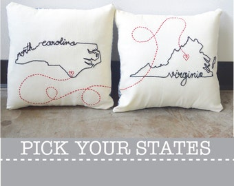 Connecting States with Hearts Embroidered Custom Decorative Housewarming Throw Pillow Cover Set Pennsylvania Ohio California New York