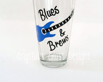 Blues and Brews Guitar hand-painted pint glass