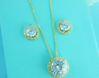Gold Jewelry Set, Bridesmaid Necklace Set, bridal jewelry, wedding jewelry, yellow gold, cz jewelry set, jewelry set, wedding accessories