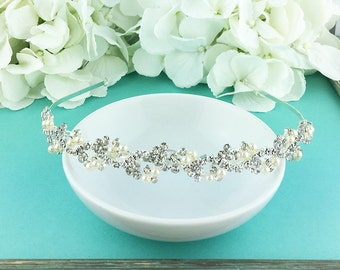 Bridal Headband, Rhinestone Crystal Ivory Pearl bridal headband headpiece, wedding headpiece, rhinestone tiara, pearl tiara 218697176