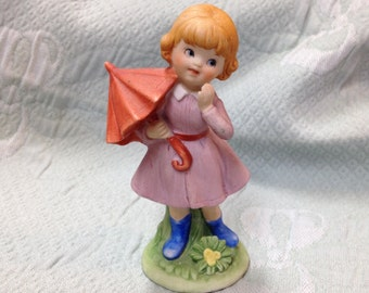 Porcelain Bisque Girl With an Umbrella, Girl With Orange Umbrella, Bisque Girl Figurine