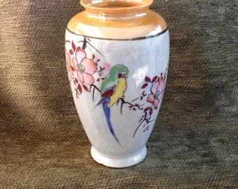 Lusterware Vase, Peach with Bird Lustreware Vase, Asian Vase, Pink Floral, Made in Japan, 1930s, Golden Peachy Pink Floral Lusterware