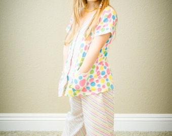 SALE Polka Dots and Stripes Girls Pajama