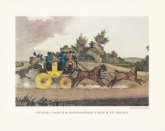 Carriage driving Stage Coach horse drawn carriage british transport vintage print illustration home office décor 9.5 x 7 inches