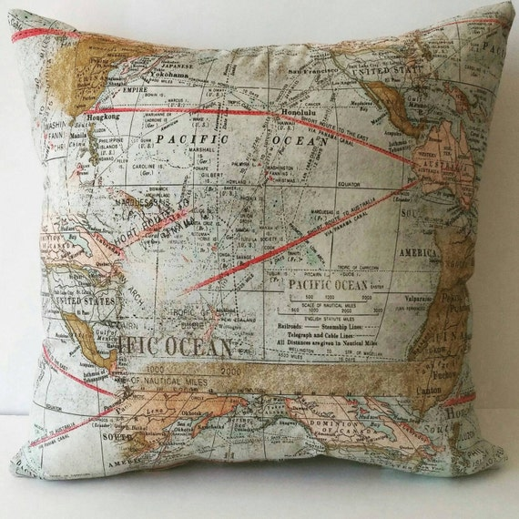 World Map Pillow Cover Accent Pillow Throw Pillow Couch