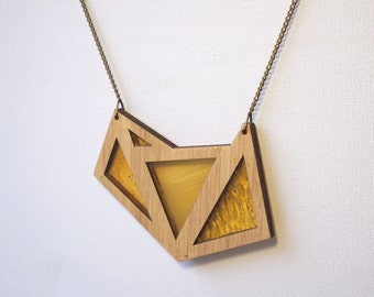 Shades of Yellow Foxface Wooden Pendant on chain.
